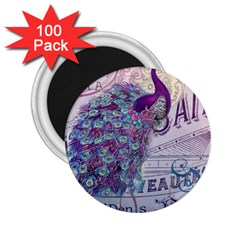 French Scripts  Purple Peacock Floral Paris Decor 2 25  Button Magnet (100 Pack)