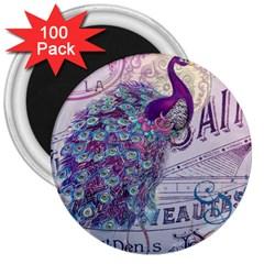 French Scripts  Purple Peacock Floral Paris Decor 3  Button Magnet (100 pack)