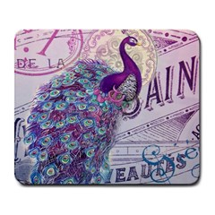 French Scripts  Purple Peacock Floral Paris Decor Large Mouse Pad (Rectangle)