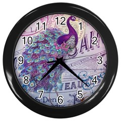 French Scripts  Purple Peacock Floral Paris Decor Wall Clock (Black)