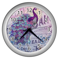 French Scripts  Purple Peacock Floral Paris Decor Wall Clock (silver)
