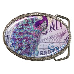 French Scripts  Purple Peacock Floral Paris Decor Belt Buckle (oval)