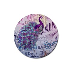 French Scripts  Purple Peacock Floral Paris Decor Drink Coasters 4 Pack (Round)