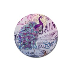 French Scripts  Purple Peacock Floral Paris Decor Magnet 3  (Round)