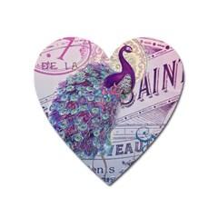 French Scripts  Purple Peacock Floral Paris Decor Magnet (Heart)