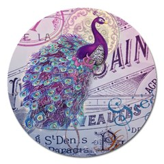 French Scripts  Purple Peacock Floral Paris Decor Magnet 5  (round)