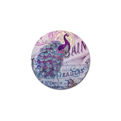 French Scripts  Purple Peacock Floral Paris Decor Golf Ball Marker 4 Pack