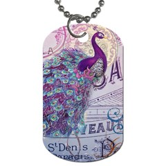 French Scripts  Purple Peacock Floral Paris Decor Dog Tag (Two-sided)