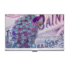 French Scripts  Purple Peacock Floral Paris Decor Business Card Holder