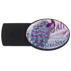 French Scripts  Purple Peacock Floral Paris Decor 1GB USB Flash Drive (Oval)