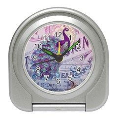 French Scripts  Purple Peacock Floral Paris Decor Desk Alarm Clock