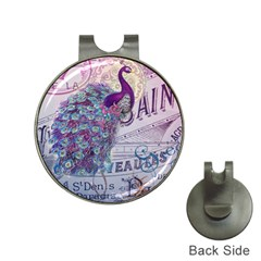 French Scripts  Purple Peacock Floral Paris Decor Hat Clip with Golf Ball Marker