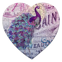 French Scripts  Purple Peacock Floral Paris Decor Jigsaw Puzzle (Heart)