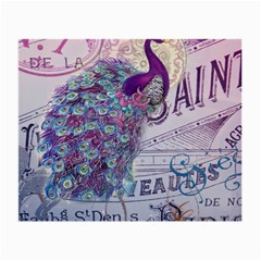 French Scripts  Purple Peacock Floral Paris Decor Glasses Cloth (Small)