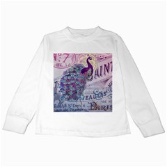 French Scripts  Purple Peacock Floral Paris Decor Kids Long Sleeve T-Shirt