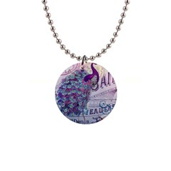 French Scripts  Purple Peacock Floral Paris Decor Button Necklace