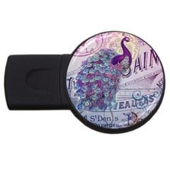 French Scripts  Purple Peacock Floral Paris Decor 4GB USB Flash Drive (Round)