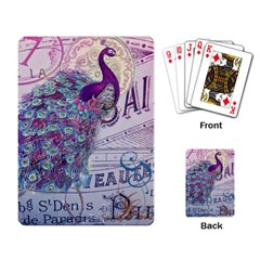French Scripts  Purple Peacock Floral Paris Decor Playing Cards Single Design