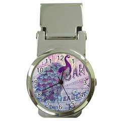 French Scripts  Purple Peacock Floral Paris Decor Money Clip with Watch