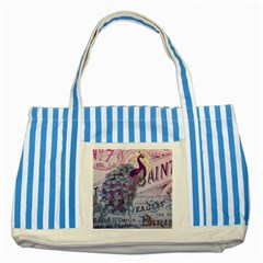 French Scripts  Purple Peacock Floral Paris Decor Blue Striped Tote Bag