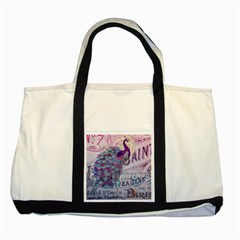 French Scripts  Purple Peacock Floral Paris Decor Two Toned Tote Bag