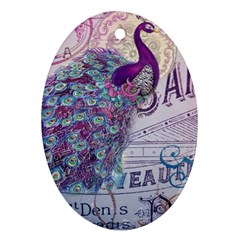 French Scripts  Purple Peacock Floral Paris Decor Oval Ornament (two Sides)