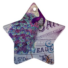 French Scripts  Purple Peacock Floral Paris Decor Star Ornament (two Sides)