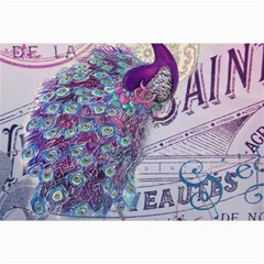 French Scripts  Purple Peacock Floral Paris Decor Canvas 12  x 18  (Unframed)