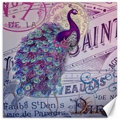 French Scripts  Purple Peacock Floral Paris Decor Canvas 20  x 20  (Unframed)