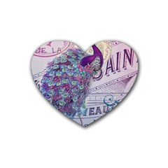 French Scripts  Purple Peacock Floral Paris Decor Drink Coasters 4 Pack (Heart)