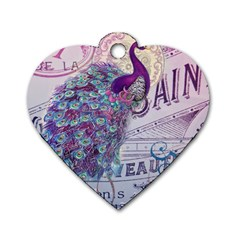 French Scripts  Purple Peacock Floral Paris Decor Dog Tag Heart (One Sided)