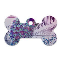 French Scripts  Purple Peacock Floral Paris Decor Dog Tag Bone (One Sided)