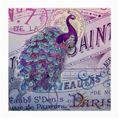 French Scripts  Purple Peacock Floral Paris Decor Glasses Cloth (Medium, Two Sided)