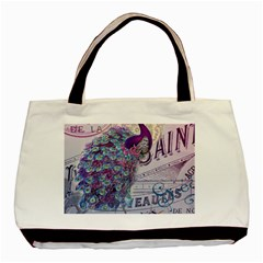 French Scripts  Purple Peacock Floral Paris Decor Twin-sided Black Tote Bag
