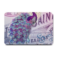 French Scripts  Purple Peacock Floral Paris Decor Small Door Mat