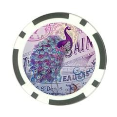 French Scripts  Purple Peacock Floral Paris Decor Poker Chip
