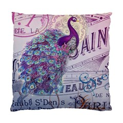 French Scripts  Purple Peacock Floral Paris Decor Cushion Case (Two Sided)