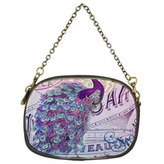 French Scripts  Purple Peacock Floral Paris Decor Chain Purse (two Sided)