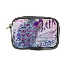 French Scripts  Purple Peacock Floral Paris Decor Coin Purse