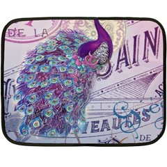 French Scripts  Purple Peacock Floral Paris Decor Mini Fleece Blanket (Two Sided)