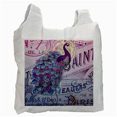 French Scripts  Purple Peacock Floral Paris Decor Recycle Bag (Two Sides)