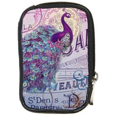 French Scripts  Purple Peacock Floral Paris Decor Compact Camera Leather Case