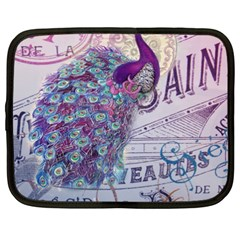 French Scripts  Purple Peacock Floral Paris Decor Netbook Case (XXL)