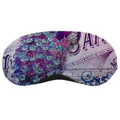 French Scripts  Purple Peacock Floral Paris Decor Sleeping Mask
