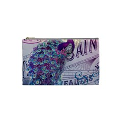 French Scripts  Purple Peacock Floral Paris Decor Cosmetic Bag (small)