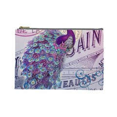 French Scripts  Purple Peacock Floral Paris Decor Cosmetic Bag (large)