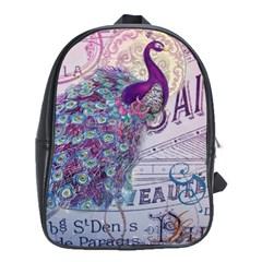 French Scripts  Purple Peacock Floral Paris Decor School Bag (Large)