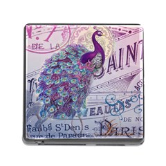 French Scripts  Purple Peacock Floral Paris Decor Memory Card Reader with Storage (Square)