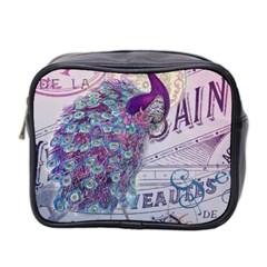 French Scripts  Purple Peacock Floral Paris Decor Mini Travel Toiletry Bag (Two Sides)