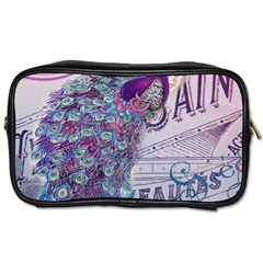 French Scripts  Purple Peacock Floral Paris Decor Travel Toiletry Bag (One Side)